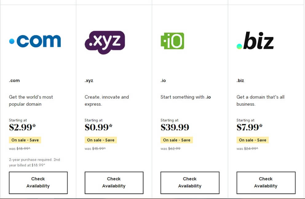 domain extensions prices