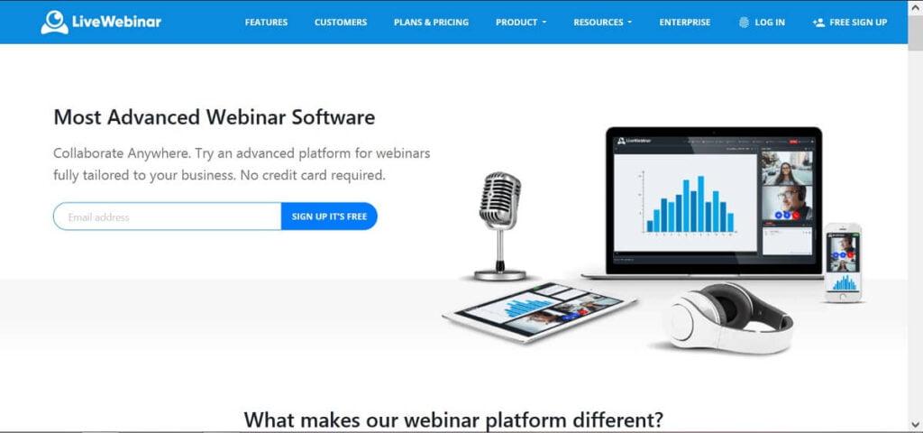 Dashboard of LiveWebinar